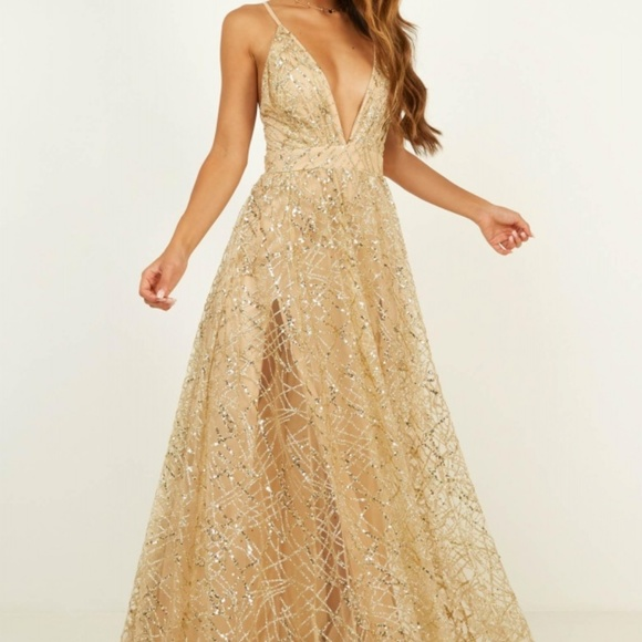 8ae912ddd Showpo. Dresses | Iso Showpo Eternal Sunshine Maxi In Gold Sequin ...